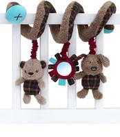 Купить Little Bird Told Me Игрушка-спираль Медвежонок и щенок для детской кроватки, Первые игрушки