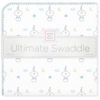 Купить SwaddleDesigns Пеленка фланелевая Ultimate Space Friend Blue, Подгузники и пеленки