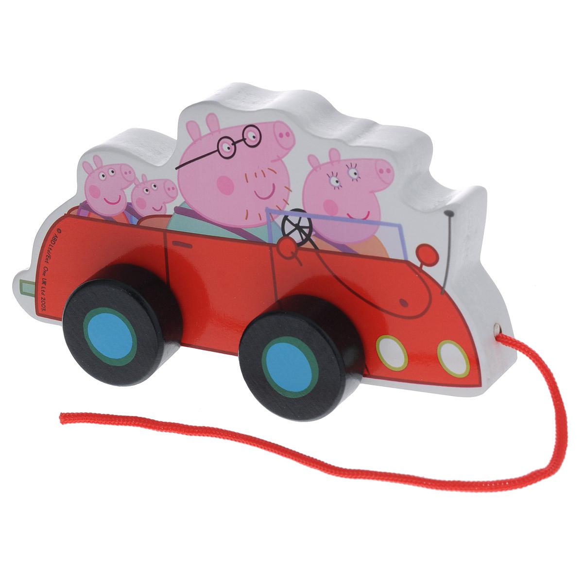 Купить Деревянная игрушка-каталка Peppa Pig Машина семьи Пеппы , Первые игрушки
