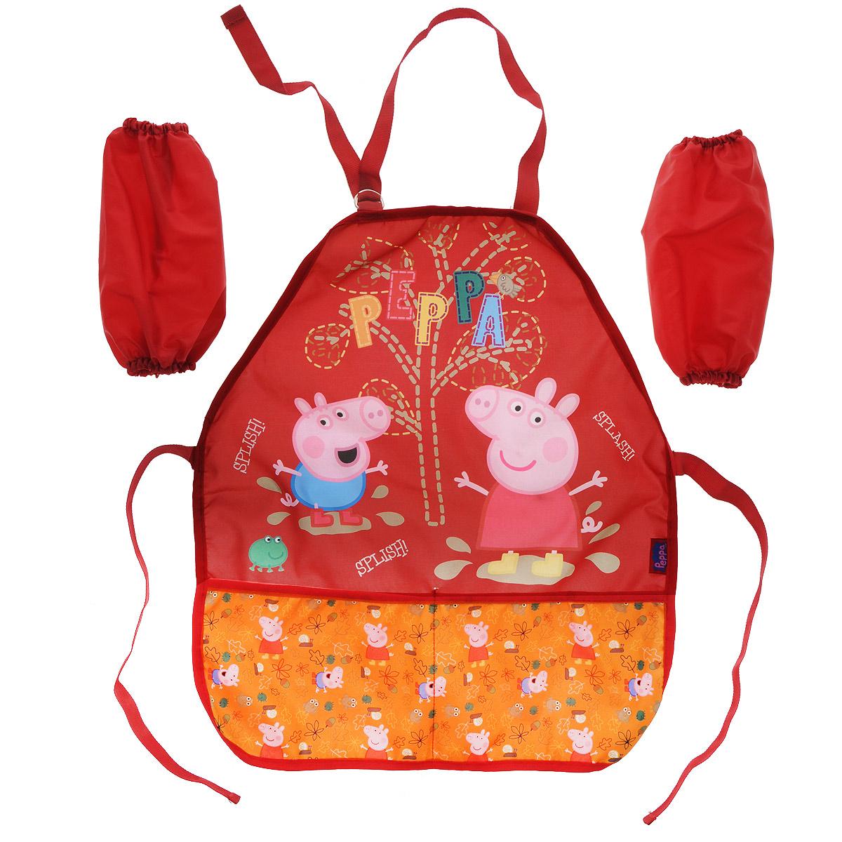 Купить Фартук Свинка Пеппа , с нарукавниками, цвет: красный, Peppa Pig, Аксессуары для труда
