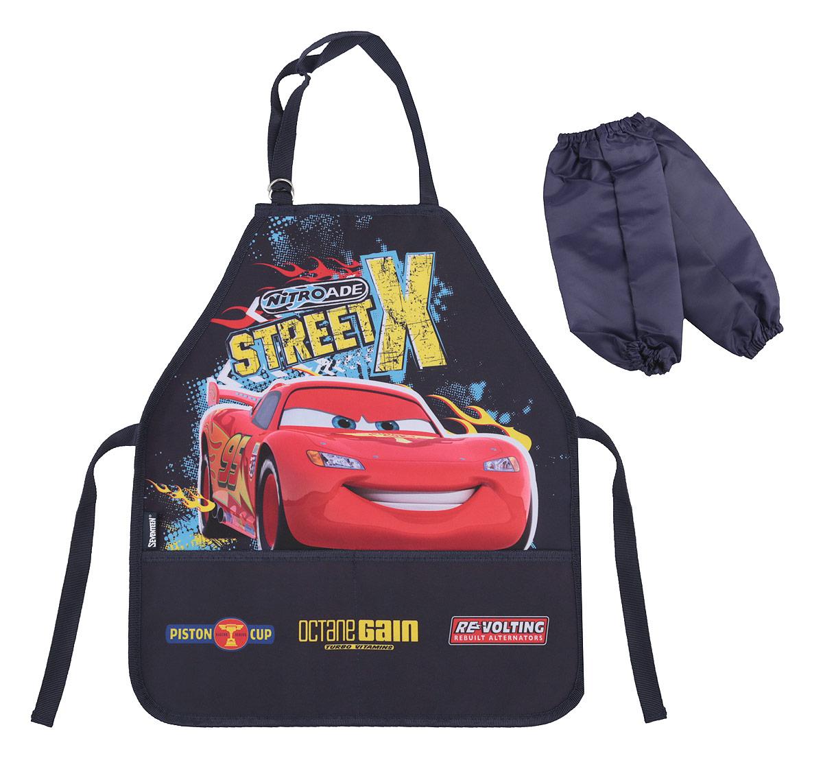 Купить Фартук для труда Cars , с нарукавниками, цвет: темно-синий, красный, Аксессуары для труда
