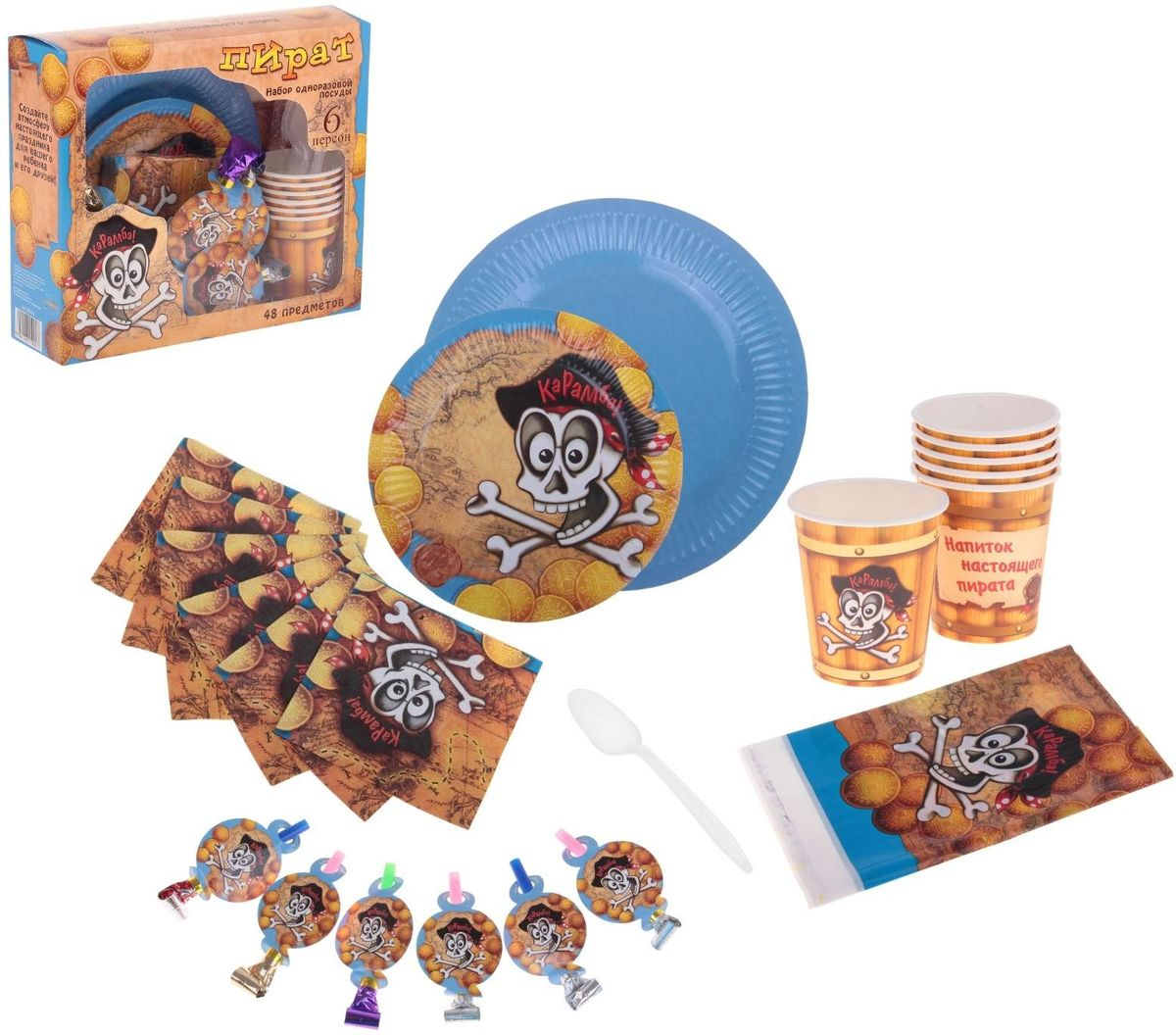 Купить Страна Карнавалия Набор бумажной посуды Пират на 6 персон, Сервировка праздничного стола