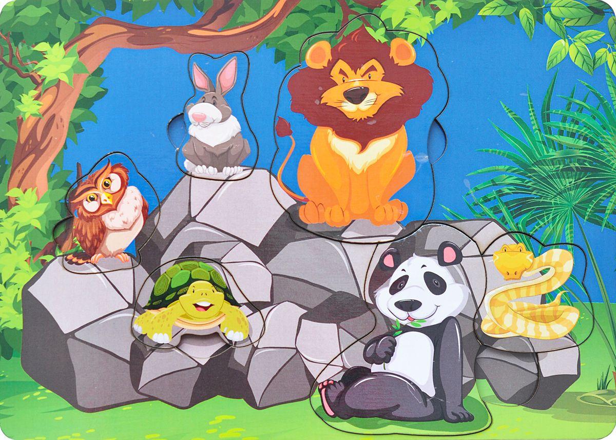 Купить Фабрика Мастер игрушек Рамка-вкладыш Звери на камнях, Тимбергрупп