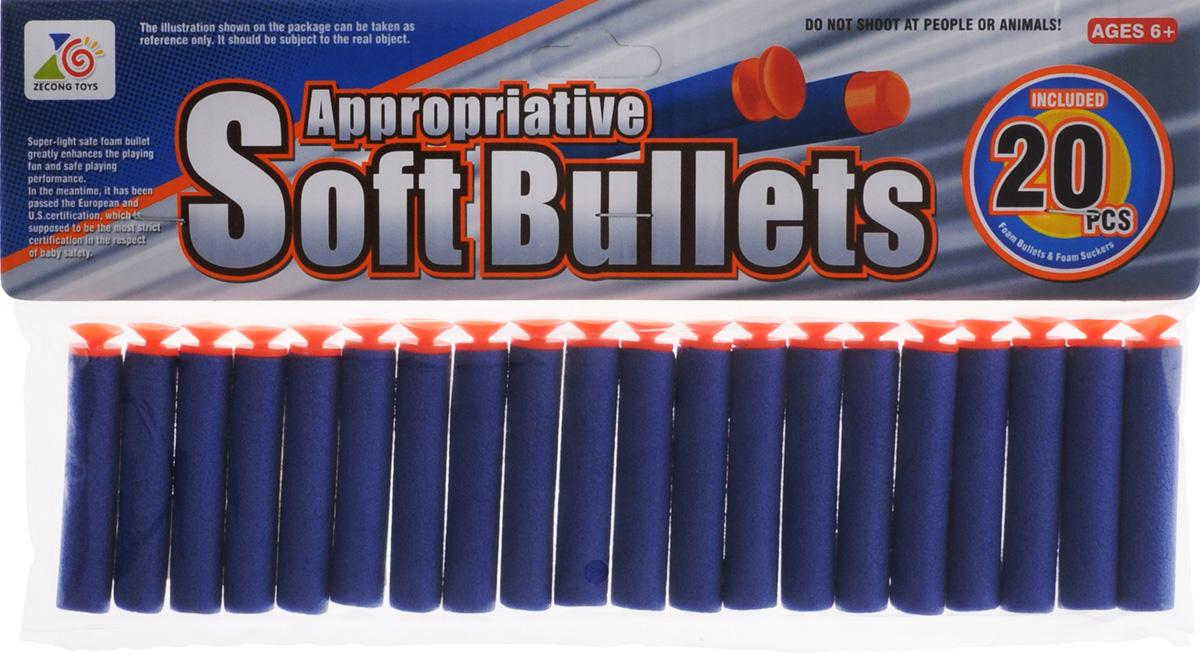 Купить Junfa Toys Набор снарядов для бластера с присосками цвет синий 20 шт, Junfa Toys Ltd, Игрушечное оружие