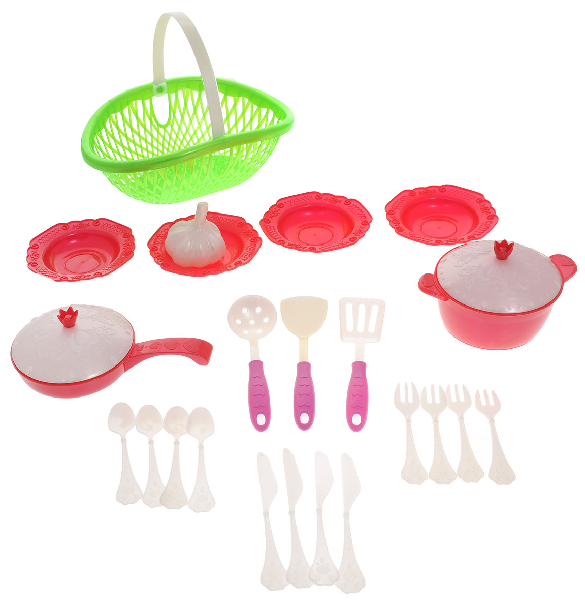 Купить Нордпласт Игрушечный набор посуды Кухонный сервиз Волшебная хозяюшка цвет зеленый красный, Сюжетно-ролевые игрушки