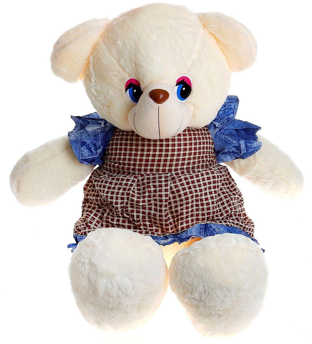 Купить Sima-land Мягкая игрушка Медведь в платье с джинсовыми вставками 80 см 1034156, Сима-ленд, Мягкие игрушки
