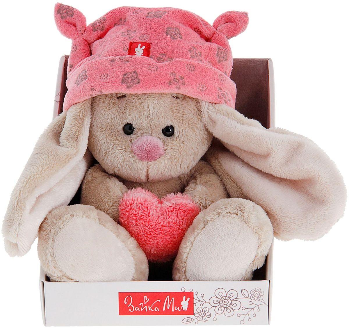Купить Зайка Ми Мягкая игрушка Зайка Ми в шапке с сердечком цвет розовый 15 см 871971, Сима-ленд, Мягкие игрушки