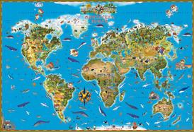 Карта мира. Обитатели Земли,
