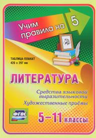 Литература. 5-11 классы. Средства языковой выразительности. Художественные приёмы. Таблица-плакат,