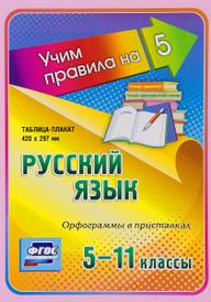 Русский язык. Орфограммы в приставках. 5-11 классы. Таблица-плакат,