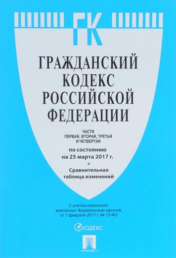 Гражданский кодекс Российской Федерации. Части 1, 2, 3 и 4. По состоянию на 25.03.17 г. Сравнительная таблица изменений