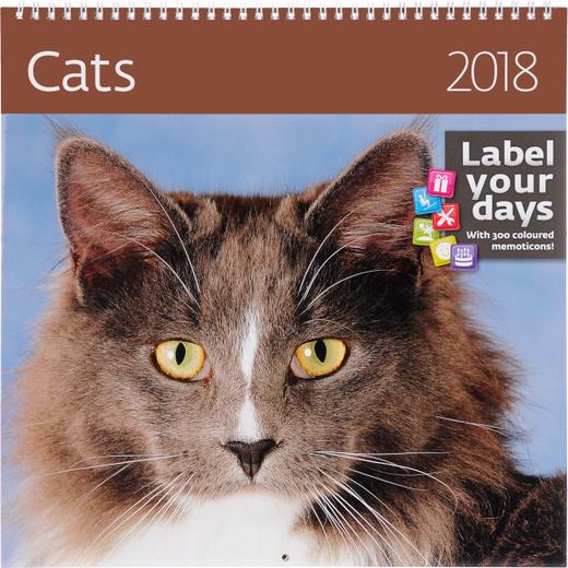 Cats. Календарь (на спирали) на 2018 год (+ наклейки)