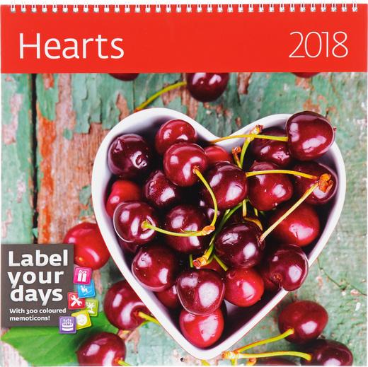 Hearts. Календарь (на спирали) на 2018 год (+ наклейки)