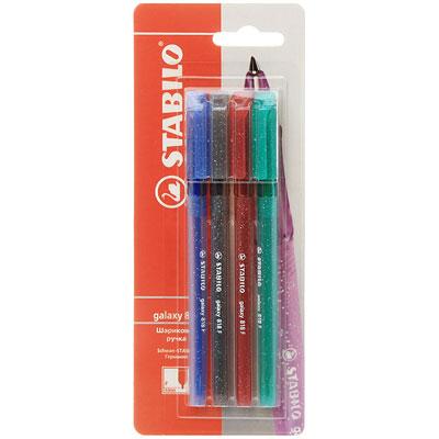 STABILO galaxy 818. Шариковая ручка с заменяемым стержнем. Специальная технология фиксирования пишущего шарика защищает от утечки чернил, обеспечивает тонкую аккуратную линию и мягкое скольжение. Толщина линии F-0,3 мм. Характеристики: Толщина линии: 0,3 мм. Длина ручки:  14,5 см. Размер упаковки:  8 см х 20,5 см х 1,5 см.