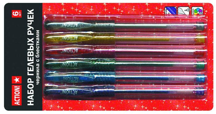 Набор гелевых ручек ACTION! подойдет всем тем, кто отдает свое предпочтение всему яркому. Корпус изготовлен из прозрачного пластика. Мягкий прорезиненный грип с выемками предотвращает скольжение пальцев во время письма. Ручки имеют плотно защелкивающийся прозрачный колпачок. Цвет грипа и клипа соответствует цвету чернил. В набор входят ручки 6 цветов с чернилами с металлическими блестками: фиолетовый, голубой, зеленый, красный, желтый и серый.  Характеристики:  Материал корпуса:  пластик.   Длина ручки:  15 см.  Толщина письма:  1 мм.