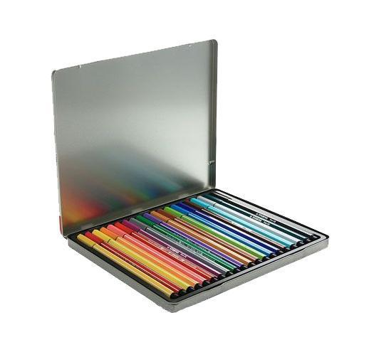 STABILO Pen 68. Профессиональный фломастер самого высокого качества. Эти фломастеры предназначены и для профессиональных художников, и для любителей. Износостойкий, очень прочный наконечник устойчив к любой силе нажима, сохраняет свою форму и равномерно наносит чернила. Богатая гамма ярких и насыщенных цветов с самой высокой светостойкостью дает возможность для творческих поисков. Чернила на водной основе не имеют запаха. Не высыхают без колпачка 24 часа. Толщина линии 1 мм. Гарантированный срок хранения – 3 года. Набор фломастеров из 20 цветов в металлических футляре.