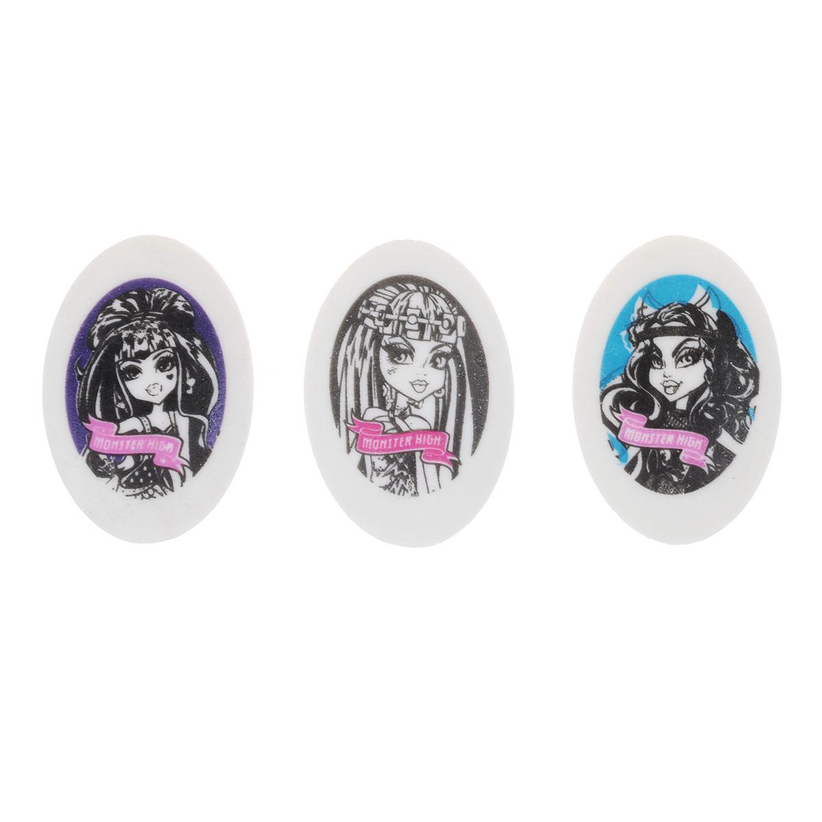 Ластики из набора Monster High предназначены для стирания карандашей с бумаги различной плотности.  Овальные ластики выполнены из синтетического каучука белого цвета. Каждый ластик оформлен изображением одного из персонажей популярного мультсериала Monster High (Школа Монстров).В наборе 24 ластика, упакованных в отдельные пакеты.