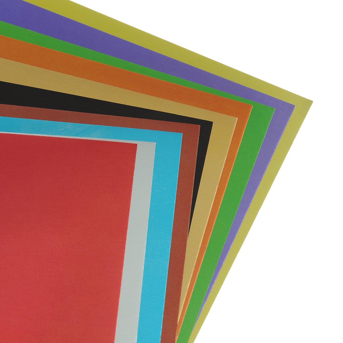 Картон цветной Hatber Дельфин, металлизированный, позволит создавать всевозможные аппликации и поделки. Набор включает 10 листов одностороннего цветного картона формата А4. Цвета: красный, серебристый, синий, коричневый, черный, золотистый, светло - коричневый, зеленый, фиолетовый, желтый. Создание поделок из цветного картона позволяет ребенку развивать творческие способности, кроме того, это увлекательный досуг.