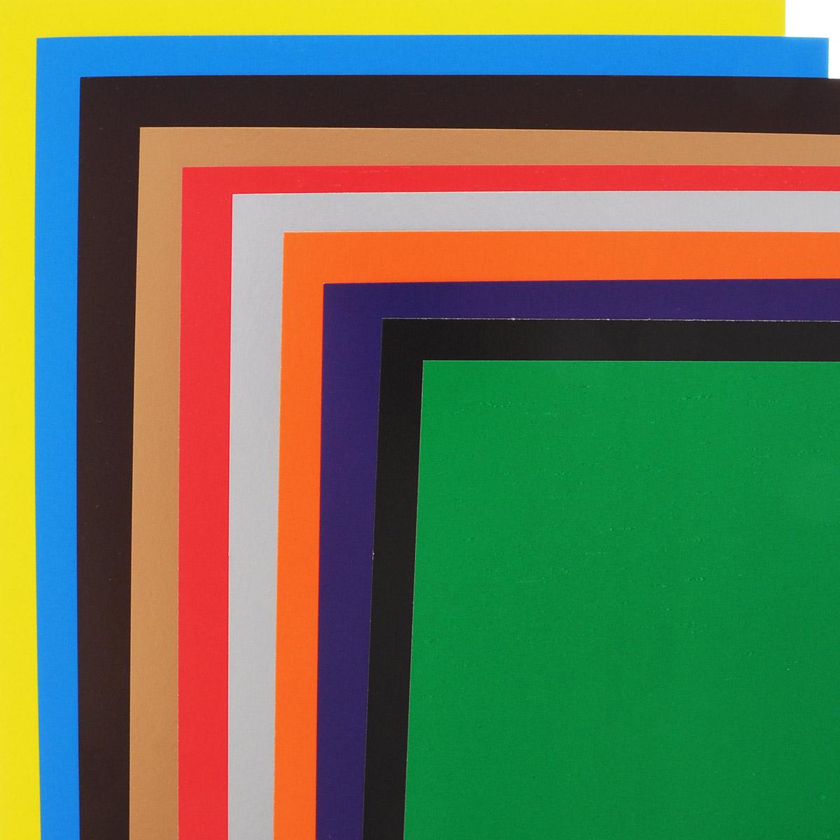 Цветной картон Смурфики идеально подойдет для творческих занятий в детском саду, школе или дома.  Картон упакован в яркую картонную папку, оформленную рисунком с изображением смурфика. Упаковка содержит десять листов картона разных цветов (оранжевый, зеленый, желтый, черный, синий, фиолетовый, красный, коричневый, золотой и серебряный).  Создание поделок и аппликаций из картона - это увлекательный досуг, который позволяет ребенку развивать свои творческие способности.   Рекомендуемый возраст: от 3 лет.