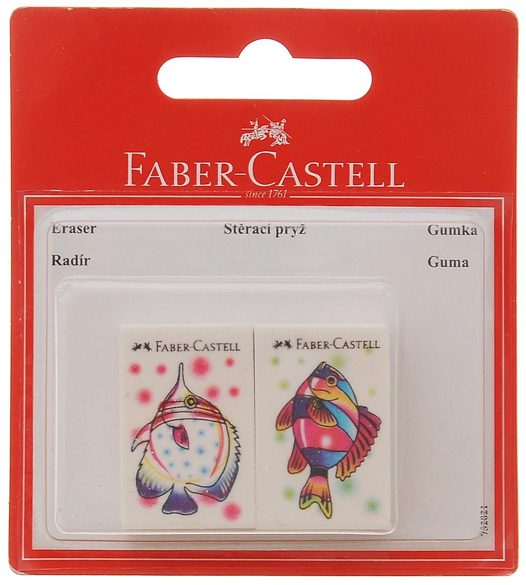 Ластик Faber-Castell Рыбкис изображением красивых рыбок не содержит ПВХ, пригоден для графитных простых и цветных карандашей. Размеры ластика: 3,5 см х 2,2 см х 0,5 см. В комплекте 2 ластика.Уважаемые клиенты! Обращаем ваше внимание на возможные изменения в дизайне рисунка на ластике, связанные с ассортиментом продукции. Поставка осуществляется в зависимости от наличия на складе.