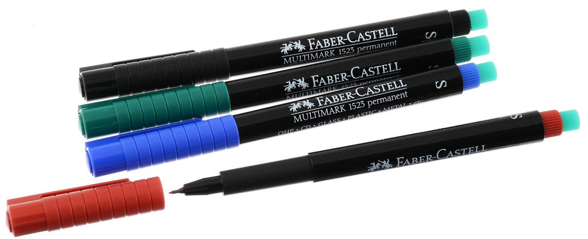 Капиллярная ручка Faber-Castell Multimark пригодна для письма на пленке для проекторов и всех видах гладких поверхностей - CD, металл, стекло, пластик (PP, PET, ПВХ и т.д.). Ручка содержит специальный ластик для стирания чернил. В комплект входят 4 ручки красного, синего, зеленого и черного цветов.