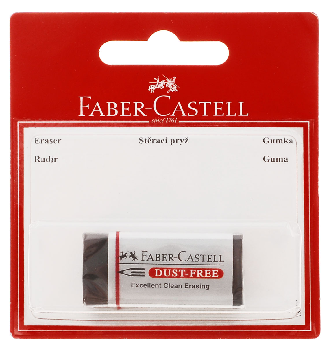 Ластик Faber-Castell DUST FREE из ПВХ в черной защитной упаковке, не содержит фталаты, пригоден для графитных простых и цветных карандашей.Уважаемые клиенты! Обращаем ваше внимание на возможное варьирования размеров товара. Поставка возможна в зависимости от наличия на складе.Размеры ластика: 4,5 х 2 х 1,5 см или 5,7 x 1,7 x 1,3 см.