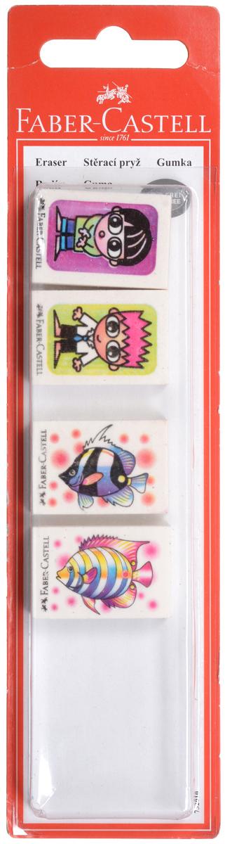 Ластик Faber-Castell Рыбки и друзья с изображением красивых рыбок и друзей, по одному изображению на ластике, не содержит ПВХ и пригоден для графитных простых и цветных карандашей. Размеры ластика: 3,5 см х 2,2 см х 0,5 см. В комплекте 4 ластика. УВАЖАЕМЫЕ КЛИЕНТЫ! Обращаем ваше внимание на ассортимент в дизайне товара. Поставка возможна в одном из вариантов нижеприведенных дизайнов, в зависимости от наличия на складе.