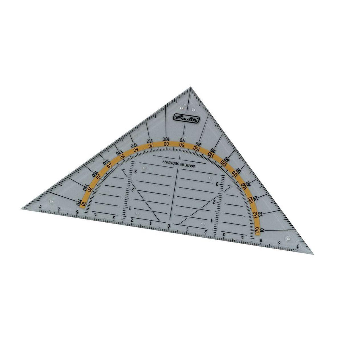 Треугольник с транспортиром от Herlitz, выполненный из прозрачного пластика, подходит как для правшей, так и для левшей. От середины треугольника идет разметка до семи сантиметров, как в левую сторону, так и в правую. Изготовлен из прозрачного полистирола и обладает четкой миллиметровой шкалой делений.Треугольник с удобным для измерения длины и черчения, устойчив к деформациям.Треугольник с транспортиром от Herlitz идеально подойдет для любого школьника или офисного работника.