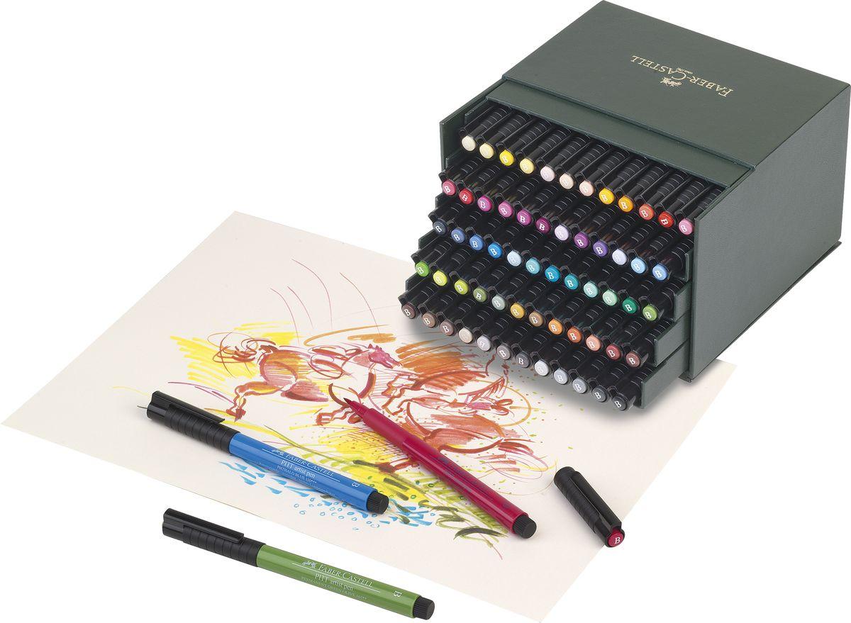 Капиллярные ручки с кисточками Faber-Castell Pitt Artist Pen станут незаменимым инструментом для начинающих и профессиональных художников. В набор входят 60 ручек различных цветов.Заостренные кончики ручек позволяют проводить тончайшие линии. Чернила не выцветают на свету, не стираются и не размываются водой, не имеют неприятного запаха и pH-нейтральны.Набор художественных капиллярных ручек с кисточками - это практичный и современный художественный инструмент, который поможет вам в создании самых выразительных произведений.