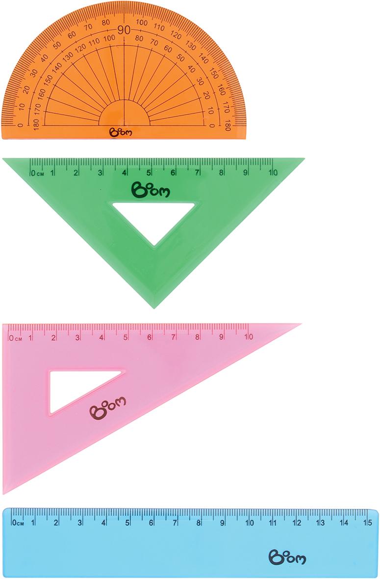 Набор Boom Studio предназначен для геометрических измерений и черчения. Все предметы изготовлены из прозрачного пластика и подходят как для правшей, так и для левшей. В наборе 4 предмета: линейка 15 см, угольник 45°/45°/90° длиной 8 см, угольник 30°/60°/90° длиной 11 см и транспортир 180° длиной 10 см. Такой комплект совершенно безопасен для здоровья и предназначен для детей и подростков.
