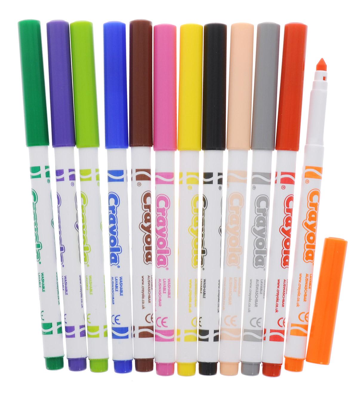 Легкость смываемых фломастеров Crayola Supertips снижает усталость при интенсивном письме и рисовании, а полученные рисунки, благодаря яркости и насыщенности чернил, долгое время не блекнут и не выцветают.Особое устройство маркеров не позволяет вдавить стержень внутрь, при этом фибровый наконечник не скрипит и не ломается. Изготовлены фломастеры из экологически чистых материалов, соответствующих Европейским нормам безопасности.Созданные на основе растительных красителей, фломастеры Crayola легко смываются как с рук, так и с одежды ребёнка. Удобная форма и яркие насыщенные цвета являются ещё одним неоспоримым преимуществом этих чудесных фломастеров. Создавая новые шедевры на листе бумаге или ваших любимых обоях, малыш совершенствует творческие навыки, оттачивая мастерство мелкой моторики рук. Не нужно бояться разукрашенных стен, ведь превосходный рисунок вашего чада легко отмыть обычной водой!