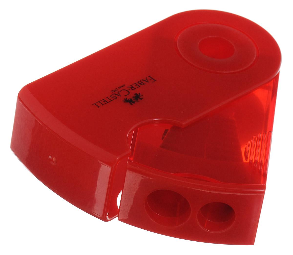 Точилка двойная Faber-Castell Sleeve выполнена из прочного пластика красного цвета.В точилке имеются два отверстия для карандашей разного диаметра, подходит для различных видов карандашей. Эргономичная форма контейнера обеспечивает стабильное положение кисти. Карандаш затачивается легко и аккуратно, а опилки после заточки остаются в специальном контейнере повышенной вместимости.