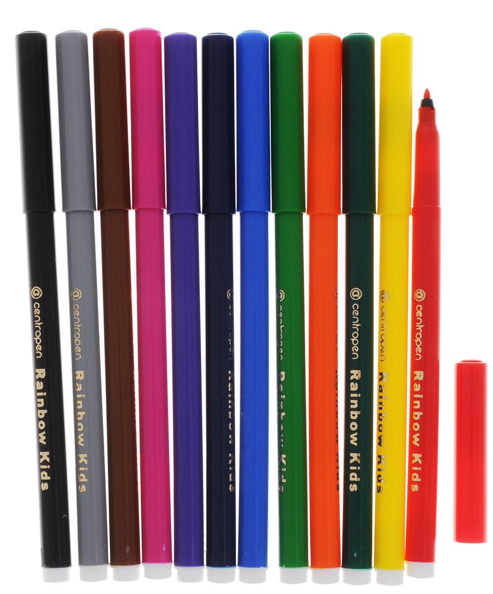 Цветные смываемые фломастеры Rainbow Kids от Centropen всегда помогут вашему маленькому художнику во всех его творческих начинаниях. Фломастеры оснащены вентилируемым колпачком, поэтому сохраняют свои свойства, не высыхая, минимум 3 года. Эргономичная треугольная зона обхвата корпуса позволяет использовать их с большим комфортом. Цилиндрический пишущий узел достаточно устойчив к вдавливанию. Фломастеры легко смываются с рук даже холодной водой и очень легко отстирываются.Набор состоит из 12 разноцветных фломастеров.Рекомендуемый возраст: от 3-х лет.