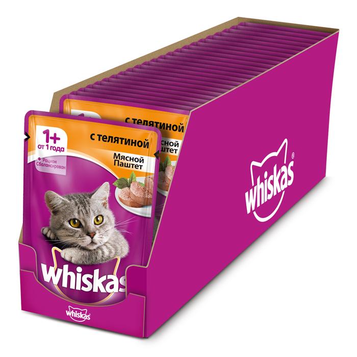 Полнорационный_сбалансированный_корм_для_кошек_~Whiskas~_приготовлен_из_тщательно_отобранного_мяса._Он_содержит_все_витамины_и_минералы,_необходимые_для_ежедневного_питания_вашей_кошки._В_рацион_домашнего_любимца_нужно_обязательно_включать_консервированный_корм,_ведь_его_главные_достоинства_-_высокая_калорийность_и_питательная_ценность._Консервы_лучше_усваиваются,_чем_сухие_корма._Также_важно,_чтобы_животные,_имеющие_в_рационе_консервированный_корм,_получали_больше_влаги.Не_содержит_сои,_консервантов,_ароматизаторов,_искусственных_красителей_и_усилителей_вкуса._Состав:_мясо_и_субпродукты_(в_том_числе_телятина_минимум_4%25),_таурин,_витамины,_минеральные_вещества.Пищевая_ценность_в_100_г:_белки_-_8_г,_жиры_-_4_г,_зола_-_1,8_г,_клетчатка_-_0,3_г,_витамин_А_-_не_менее_150_МЕ,_витамин_Е_-_не_менее_1,0_мг,_влага_-_85_г._Энергетическая_ценность_в_100_г:_70_ккал/293_кДж._В_упаковке_24_пакетика_по_85_г.Товар_сертифицирован.