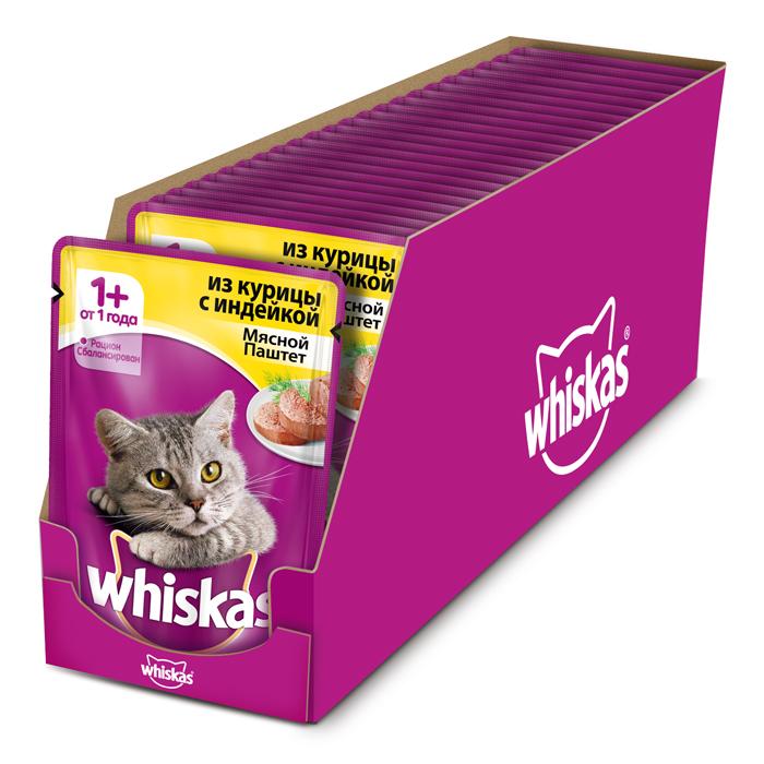 Полнорационный_сбалансированный_корм_для_кошек_~Whiskas~_приготовлен_из_тщательно_отобранного_мяса._Он_содержит_все_витамины_и_минералы,_необходимые_для_ежедневного_питания_вашей_кошки._В_рацион_домашнего_любимца_нужно_обязательно_включать_консервированный_корм,_ведь_его_главные_достоинства_-_высокая_калорийность_и_питательная_ценность._Консервы_лучше_усваиваются,_чем_сухие_корма._Также_важно,_чтобы_животные,_имеющие_в_рационе_консервированный_корм,_получали_больше_влаги.Не_содержит_сои,_консервантов,_ароматизаторов,_искусственных_красителей_и_усилителей_вкуса._Состав:_мясо_и_субпродукты_(в_том_числе_курица_минимум_20%25,_индейка_минимум_6%25),_таурин,_витамины,_минеральные_вещества.Пищевая_ценность_в_100_г:_белки_-_8_г,_жиры_-_4_г,_зола_-_1,8_г,_клетчатка_-_0,3_г,_витамин_А_-_не_менее_150_МЕ,_витамин_Е_-_не_менее_1,0_мг,_влага_-_85_г._Энергетическая_ценность_в_100_г:_70_ккал/293_кДж._В_упаковке_24_пакетика_по_85_г.Товар_сертифицирован.