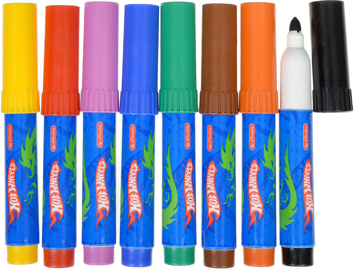 Набор фломастеров Herlitz  Hot Wheels- это 8 фломастеров ярких насыщенных цветов.Фломастеры оснащены вентилируемым колпачком, а корпус изготовлен из прочного пластика. Фломастеры устойчивы к вдавливанию и имеют цилиндрический пишущий узел.Когда ваш юный художник будет рисовать, то можете не беспокоиться, чернила этих фломастеров совершенно безопасны для здоровья вашего малыша. Набор фломастеров от Herlitz обязательно порадует не только вашего малыша, но и вас.Рекомендуемый возраст от трех лет.