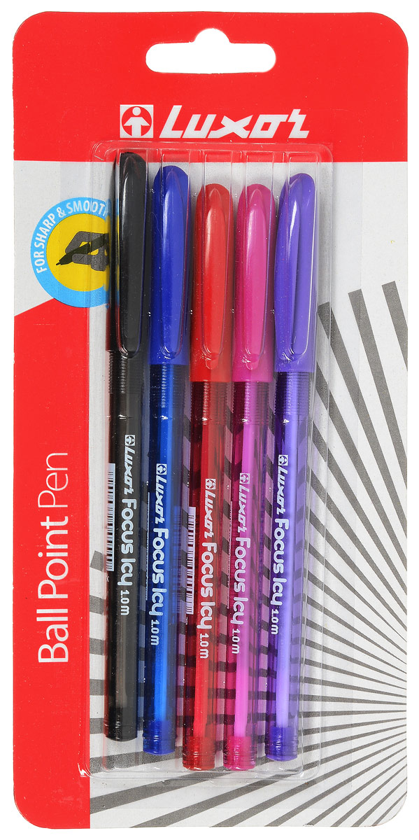 Набор шариковых ручек Luxor Focus Icy состоит из пяти ручек с цветными чернилами. Ручки рисуют яркими насыщенными цветами. Цвета ручек: черный, синий, розовый, красный, сиреневый. Ручки отлично подойдут и для школьных занятий, и просто для подчеркивания.  Корпуса изготовлены из качественного полупрозрачного пластика. Цвет корпуса соответствует цвету чернил ручки.  Колпачки ручек дополнены практичным клипом. Набор шариковых ручек станет незаменимой канцелярской принадлежностью для вас или для вашего ребенка.