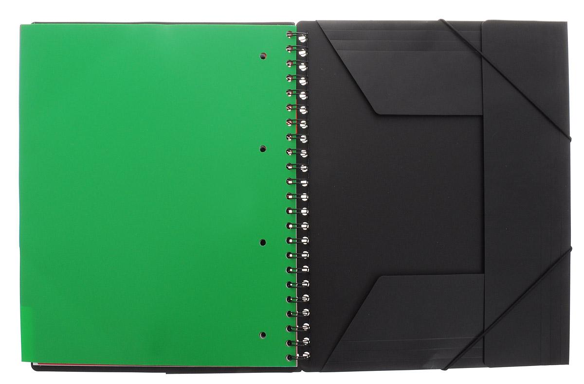 Красивая и практичная тетрадь 3 в 1 Oxford Sos Notes Organiserbook отлично подойдет для ведения и хранения заметок. Тетрадь формата А4+ состоит из 80 листов белой бумаги и четкой яркой линовкой в клетку. Обложка тетради выполнена из плотного пластика серого и черного цвета. Все ваши записи и заметки всегда будут в безопасности, так как листы крепятся на двойной металлической спирали. Благодаря специальным меткам на каждой странице и бесплатному приложению SOS Notes, вы сможете всегда легко перенести ваши записи и зарисовки с бумажной страницы в смартфон или на компьютер. В тетради имеется органайзер с 6 разделителями, которые помогут сделать сортировку заметок, например, по теме или использовать тетрадь в качестве планировщика. Карман-папка с 3-ми клапанами на задней обложке тетради можно использовать для хранения документов.
