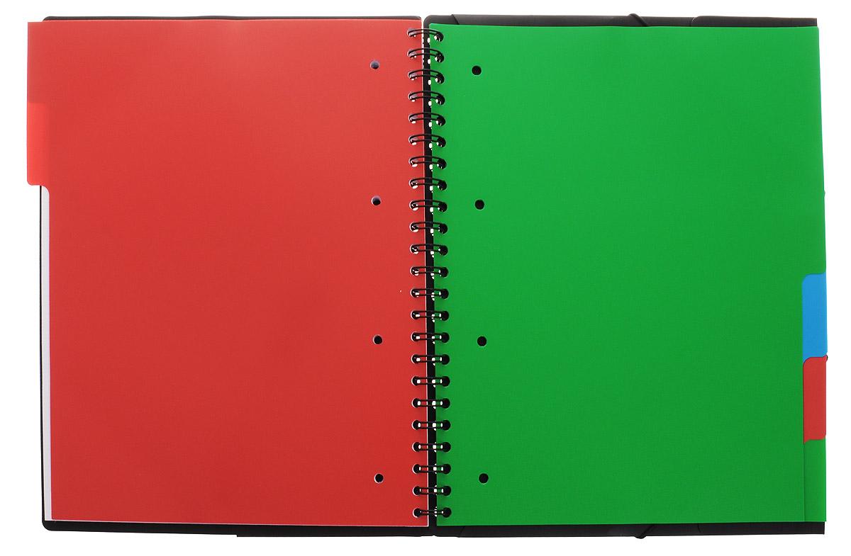 Красивая и практичная тетрадь 3 в 1 Oxford Sos Notes Organiserbook отлично подойдет для ведения и хранения заметок. Тетрадь формата А4+ состоит из 80 листов белой бумаги и четкой яркой линовкой в клетку. Обложка тетради выполнена из плотного пластика зеленого и черного цвета. Все ваши записи и заметки всегда будут в безопасности, так как листы крепятся на двойной металлической спирали. Благодаря специальным меткам на каждой странице и бесплатному приложению SOS Notes, вы сможете всегда легко перенести ваши записи и зарисовки с бумажной страницы в смартфон или на компьютер. В тетради имеется органайзер с 6 разделителями, которые помогут сделать сортировку заметок, например, по теме или использовать тетрадь в качестве планировщика. Карман-папка с 3-ми клапанами на задней обложке тетради можно использовать для хранения документов.