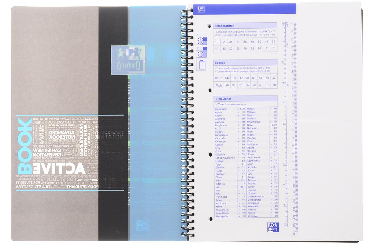 Красивая и практичная тетрадь Oxford Sos Notes Activebook отлично подойдет для школьников, студентов и офисных служащих.Тетрадь формата А4+ состоит из 80 листов белой бумаги с четкой яркой линовкой в клетку. Обложка тетради выполнена из плотного но гибкого полипропилена с закругленными уголками.  Благодаря специальным меткам на каждой странице и бесплатному приложению SOS Notes для вашего телефона или планшета, вы сможете всегда легко перенести ваши записи и зарисовки с бумажной страницы в смартфон или на компьютер.  Это прекрасное сочетание тетради и органайзера, так как включает в себя внутренний кармашек для хранения документов и закладку-линейку со справочной информацией.