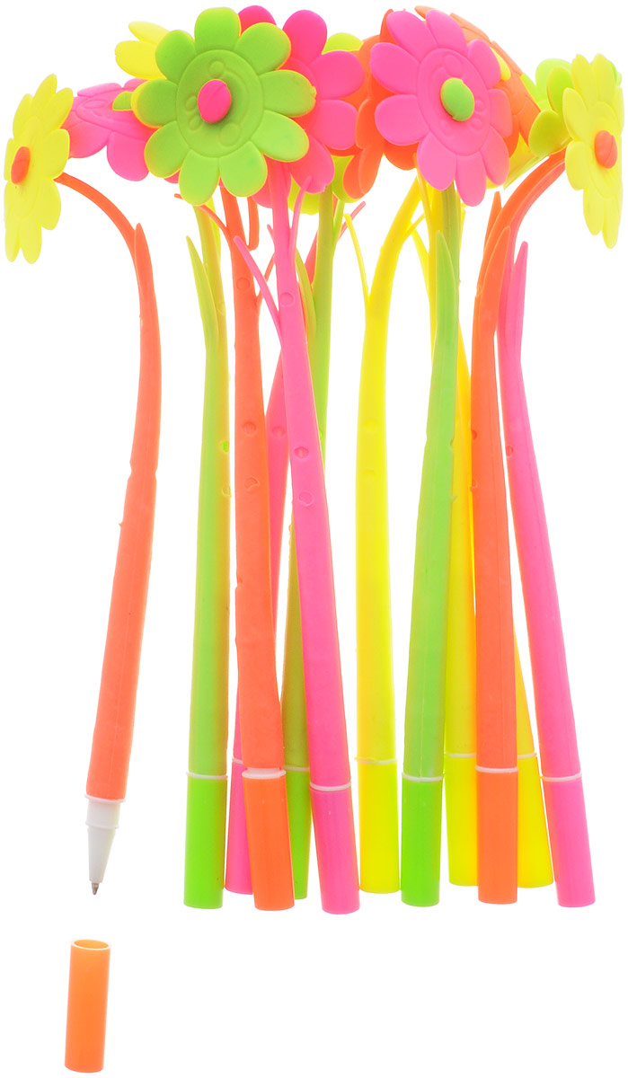 Оригинальные шариковые ручки выполнены из мягкого полимера в виде симпатичных цветочков. Ручки могут гнуться в разные стороны. Гибкие, удобные ручки с нескользящим корпусом, шариковым пишущим стержнем и удивительным флористическим дизайном вдохновят свежестью формы каждого обладателя. Ручки с синими чернилами и компактными пластиковыми колпачками. Такая ручка станет отличным подарком и незаменимым аксессуаром, она удивит и порадует получателя. Сотрудниц, родных, знакомых и любимых девушек можно радовать целыми букетами, составленными из ручек с разным декором. В наборе присутствуют ручки четырех цветов: розовый, желтый, оранжевый, салатовый.