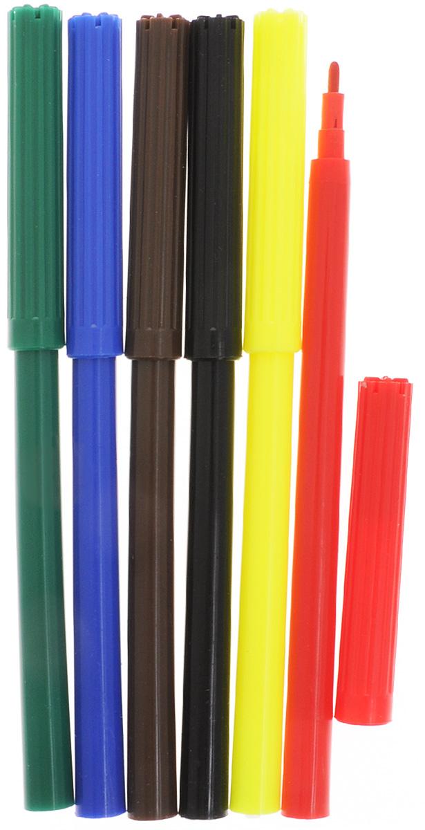 Фломастеры Silwerhof Динозавры - это 6 ярких насыщенных цветов в разноцветных пластиковых корпусах (цвет корпуса соответствует цвету чернил). Каждый фломастер оснащен плотным вентилируемым колпачком, защищающим чернила от испарения.  Чернила изготовлены на водной основе. Легко отстирываются и смываются с рук.  Фломастеры Silwerhof - идеальный инструмент для самовыражения и развития маленького художника!