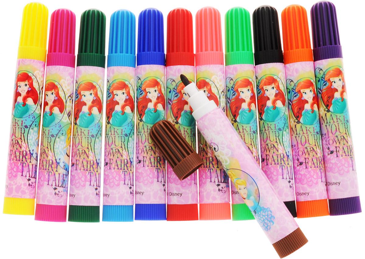 Фломастеры Disney Princess, предназначенные для рисования и раскрашивания, помогут вашему малышу создать неповторимые яркие картинки. Широкий корпус фломастера, оформленный изображениями принцесс из диснеевских мультфильмов, удобно держать в руке.  Набор включает в себя фломастеры 12 ярких насыщенных цветов в разноцветных корпусах (цвет колпачка соответствует цвету чернил). Каждый фломастер оснащен плотным вентилируемым колпачком, надежно защищающим чернила от испарения. Фломастеры упакованы в пластиковый футляр, оснащенный вставкой-держателем для фломастеров. Футляр закрывается на кнопку и  снабжен ручкой для переноски.Фломастеры Disney Princess - идеальный инструмент для самовыражения и развития маленького художника!