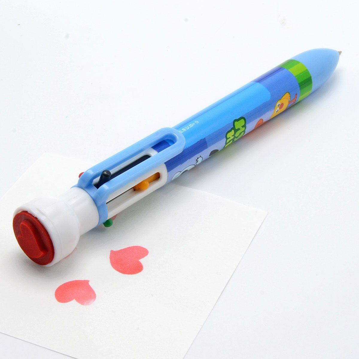 Пластиковый корпус. 6 цветов в одной ручке: красный, фиолетовый, синий, зеленый, оранжевый, черный. Со штампиком. Диаметр шарика - 0,7 мм