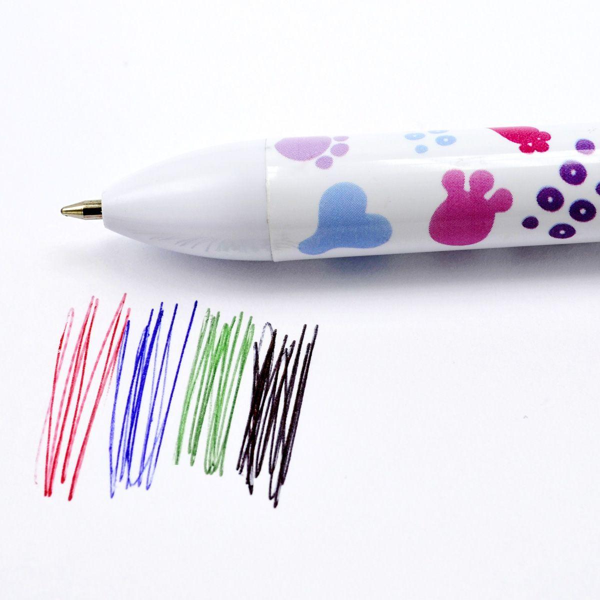 Пластиковый корпус. 4 цвета в одной ручке: черный, синий, зеленый, красный. Диаметр шарика - 0,7 мм. В пакете с европодвесом.