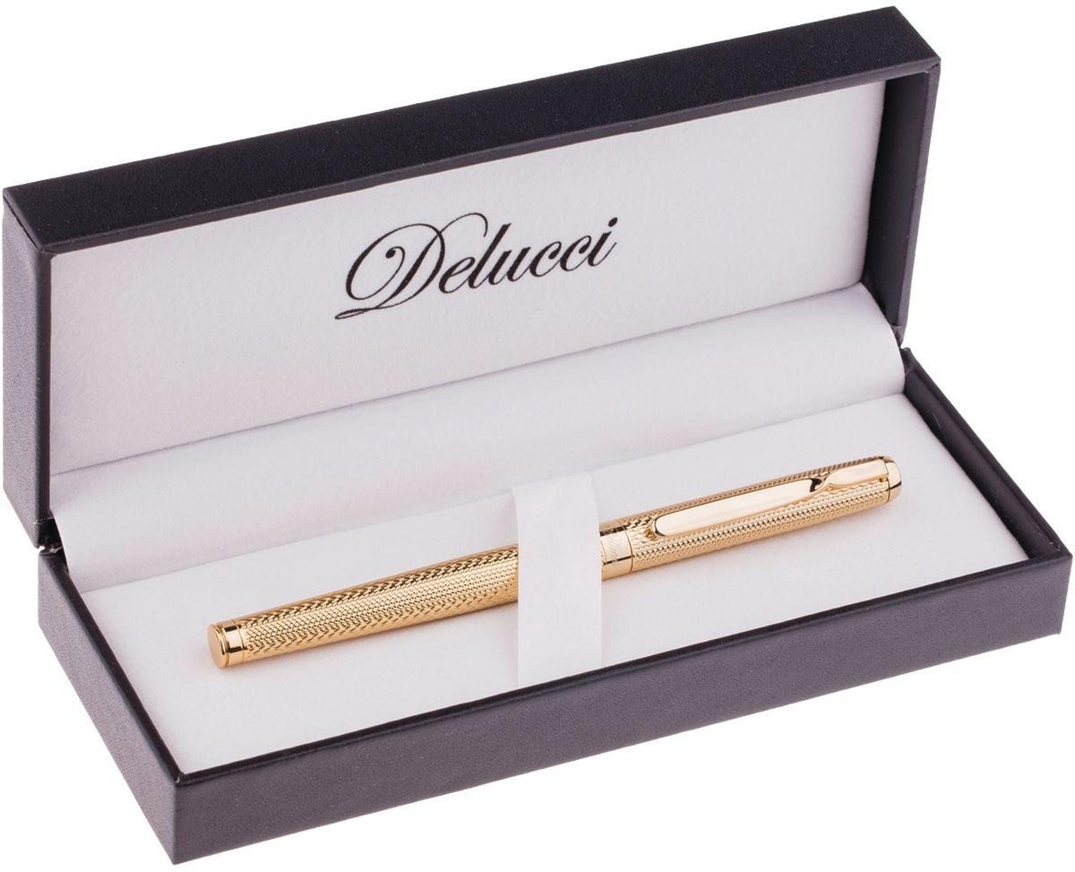Перьевая ручка Delucci создана для настоящих ценителей классики. Цвет корпуса золотистый, с рифлением. Оригинальный клип. Изящная гравировка. Диаметр пишущего узла - 0,8 мм.