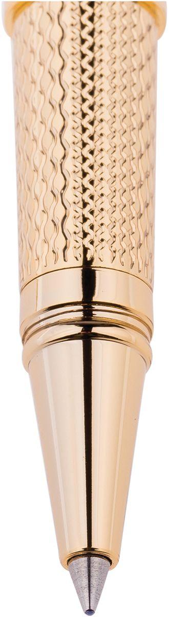 Ручка роллер поможет подчеркнуть стиль их обладателей. Цвет корпуса золотистого цвета, с рифлением. Оригинальный клип, изящная гравировка. Диаметр пишущего узла - 0,6 мм.