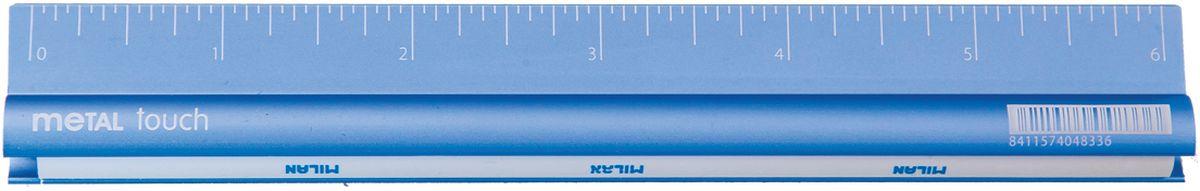 Металлическая линейка двухсторонняя 15 см со встроенным ластиком. Три доступных цвета: серый, синий и пурпурный