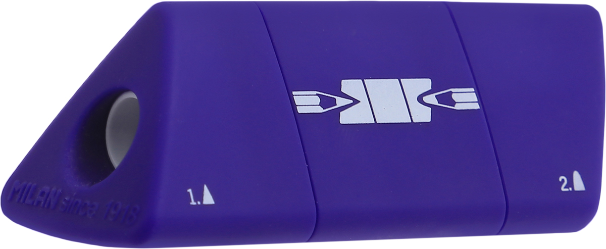 Удобная точилка Milan Slide оснащена безопасной системой заточки. Эта система предотвращает отделение лезвия от точилки.Прекрасно подходит для использования в школах. Стальное лезвие острое и устойчиво к повреждению. Идеально подходит для заточки графитовых и цветных карандашей.