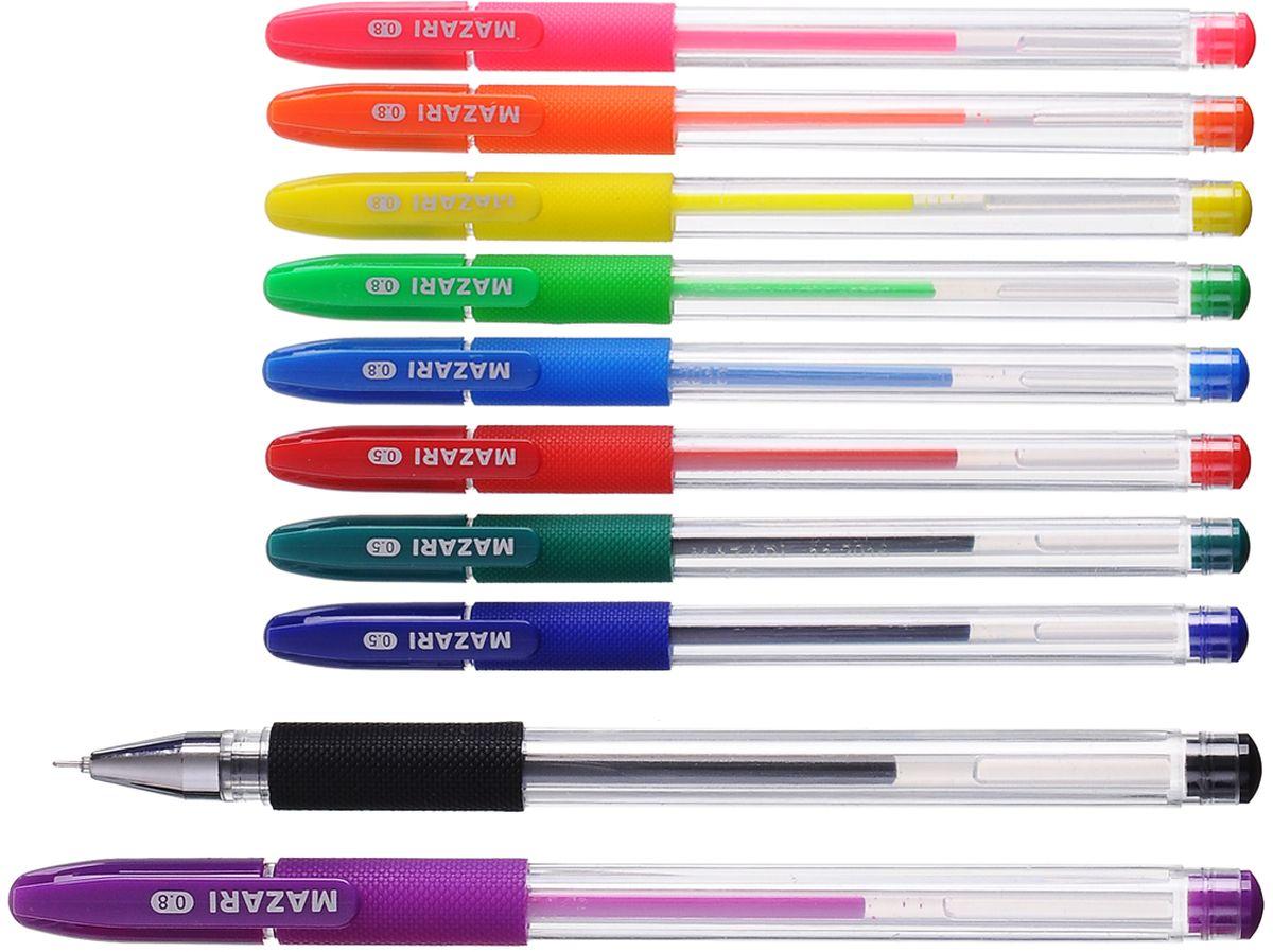 Набор разноцветных гелевых ручек Mazari Orion отлично подойдет для школы или офиса.  Качественные гелевые чернила не требуют давления на пишущую поверхность, обеспечивая чёткие и плавные линии, а прозрачный корпус с резиновым грипом позволяет контролировать их расход.Пулевидный пишущий узел 0,8 мм.В наборе ручки 10 цветов: 4 основных цвета и 6 флуоресцентных.